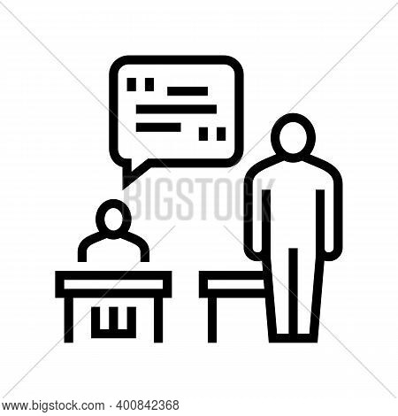 Pupil Answer Line Icon Vector. Pupil Answer Sign. Isolated Contour Symbol Black Illustration