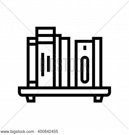 Bookshelf With Books Line Icon Vector. Bookshelf With Books Sign. Isolated Contour Symbol Black Illu