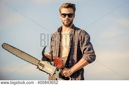 Dangerous Works. Men Brutality And Sexuality. Job For Real Men. Male Work Power Saw. He Fix Everythi