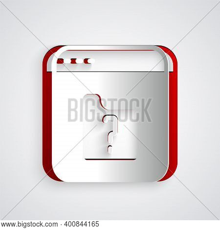 Paper Cut File Missing Icon Isolated On Grey Background. Paper Art Style. Vector