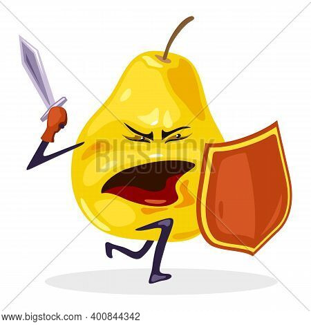 Superhero Mellow Fruit With Shield And Sword, Character With Mouth, Hands, Legs And Eyes. Vector Nut