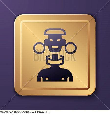 Purple African Tribe Male Icon Isolated On Purple Background. Gold Square Button. Vector
