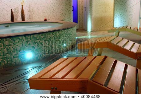 Spa relax room with couches sauna hydromassage and turkish bath poster