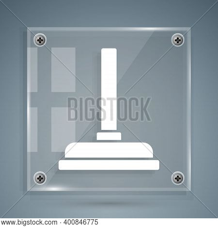White Rubber Plunger With Wooden Handle For Pipe Cleaning Icon Isolated On Grey Background. Toilet P