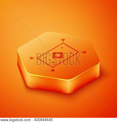 Isometric Magic Carpet Icon Isolated On Orange Background. Orange Hexagon Button. Vector