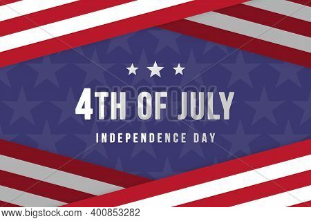 Happy 4th of July, Independence Day of USA. Blue and red background with the stars and stripes from the american flag. Card, poster, banner, high resolution background