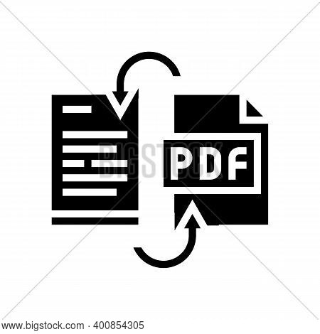 Convert Pdf File To Word Pad Glyph Icon Vector. Convert Pdf File To Word Pad Sign. Isolated Contour