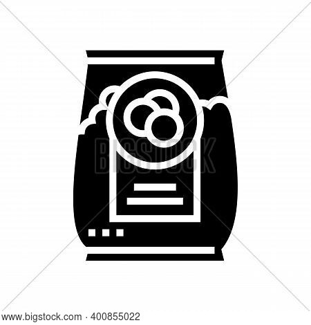 Bag Peas Glyph Icon Vector. Bag Peas Sign. Isolated Contour Symbol Black Illustration