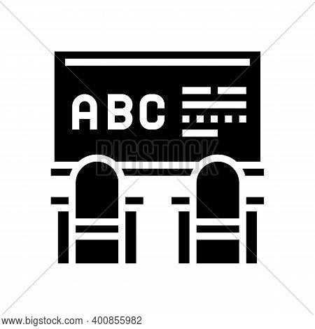 Classroom Blackboard Glyph Icon Vector. Classroom Blackboard Sign. Isolated Contour Symbol Black Ill