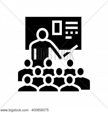 Teacher Educational Lesson Glyph Icon Vector. Teacher Educational Lesson Sign. Isolated Contour Symb