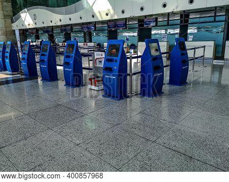 Turkey, Ankara - October 24, 2019: Check-in Terminals For An Anadolujet Flight At  Ankara Esenboga A