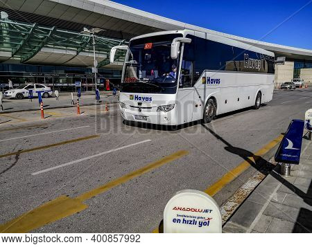 Turkey, Ankara - October 24, 2019: Havas Bus Near The International Terminal Of Ankara Esenboga Airp