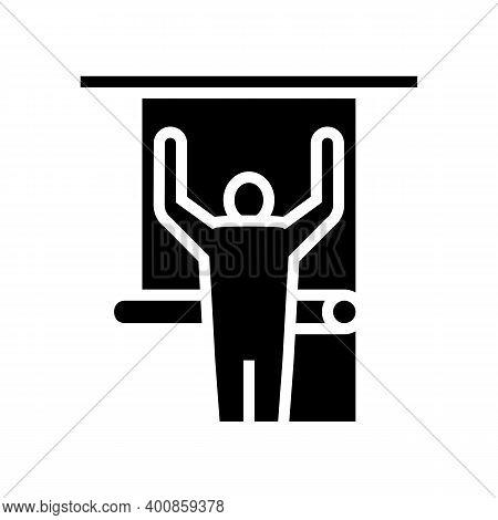 Repair Man Gluing Wallpaper On Wall Glyph Icon Vector. Repair Man Gluing Wallpaper On Wall Sign. Iso