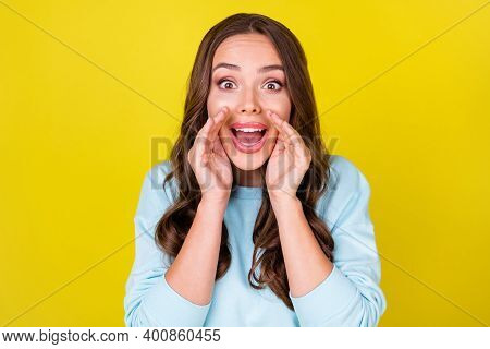 Photo Of Lovely Cunning Young Girl Hands Near Face Excited Look Open Mouth Tell Neighbor Gossip News