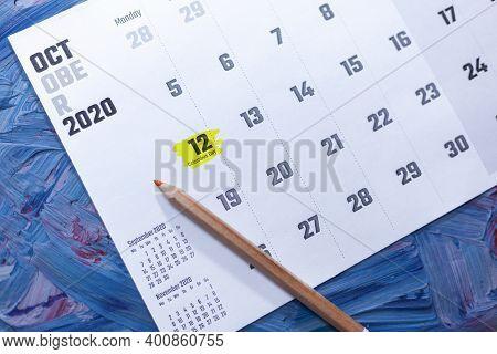 October 12 - Columbus Day. October 2021 Calendar. October Monthly Calendar On Blue Background
