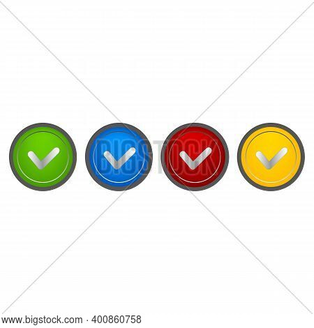 Correct, Incorrect Sign. Right And Wrong Mark Icon Set. Green Tick And Red Cross Flat Symbol. Check