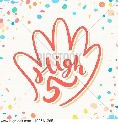 High Five. Greeting Card. Vector Hand Drawn Illustration.