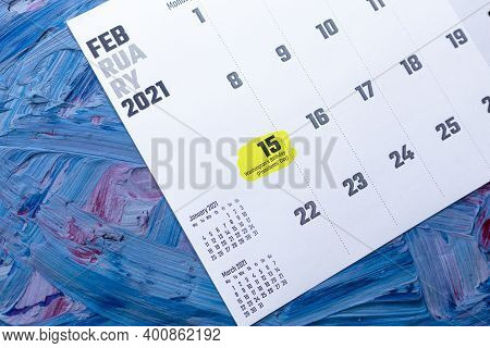 15th February 2021 - Presidents Day. Washington Birthday On Paper Monthly February Calendar