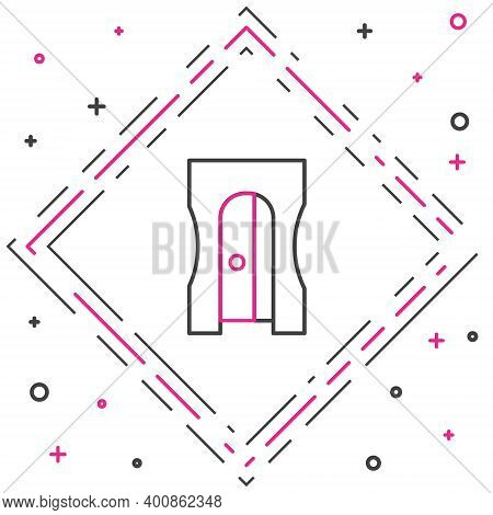 Line Pencil Sharpener Icon Isolated On White Background. Colorful Outline Concept. Vector Illustrati