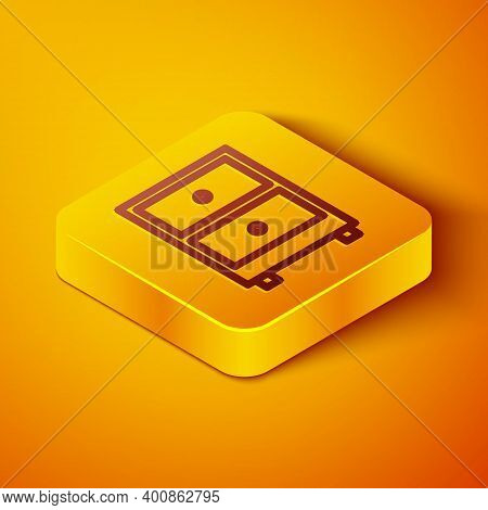 Isometric Line Drawer With Documents Icon Isolated On Orange Background. Archive Papers Drawer. File
