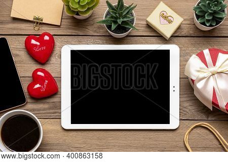 Debit Card, Chooses Gifts, Makes Purchase, Tablet, Coffee Cup, Two Hearts, Bag On Wooden Table Top V