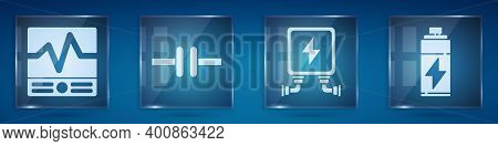 Set Electrical Measuring Instruments, Electric Circuit Scheme, Electric Transformer And Battery. Squ