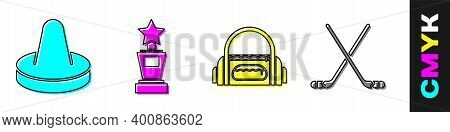 Set Mallet For Playing Air Hockey, Award Cup, Sport Bag And Ice Hockey Sticks Icon. Vector