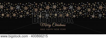 Snowflake Border Background. Vector Seamless Pattern With Small Gold And Silver Snowflakes On Black.