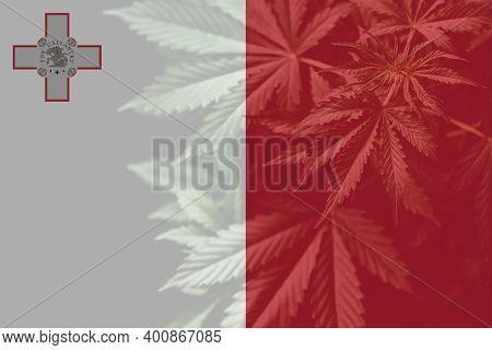 Weed Decriminalization In Malta. Medical Cannabis In The Malta. Leaf Of Cannabis Marijuana On The Fl