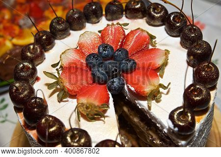 Top View, General Plan Of Sponge Cake With Strawberries And Cherries, Vegetarian And Vegan Cake With