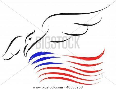 eagle and USA flag