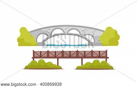 Stone And Wooden Bridge As Structure For Spanning Physical Obstacle Vector Set