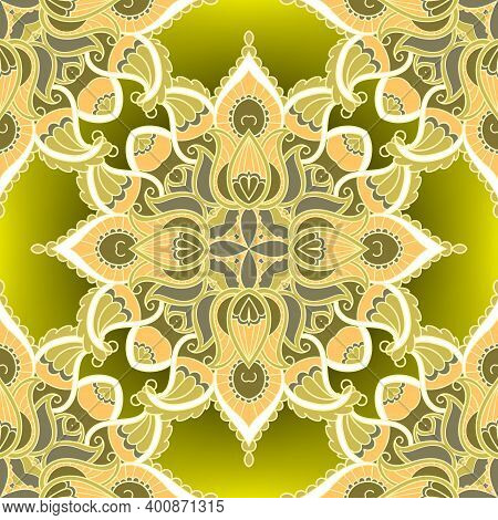 Floral Ethnic Seamless Pattern. Colorful Tribal Vector Background. Repeat Folkloric Backdrop. Paisle