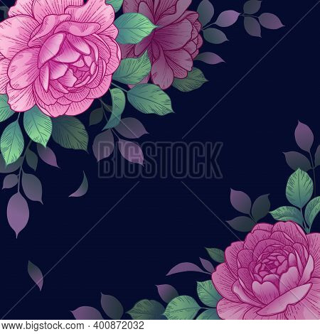 Vector Elegant Floral Arrangement With Pink Roses On Dark. Moody Square Background With Beautiful Pl