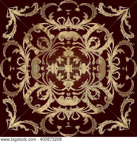 Tapestry Floral Seamless Pattern. Red Ornamental Textured Background. Repeat Vector Backdrop. Gold E