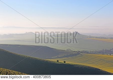 Misty Morning In The Pewsey Vale, Wiltshire From Milk Hill