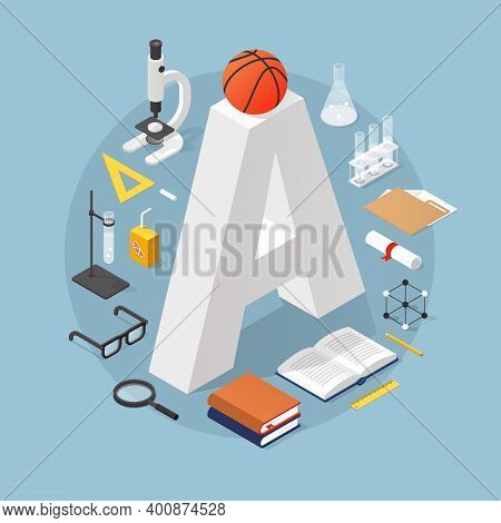Isometric School Concept Illustration - Bid Grade A Surrounded By Stack Of Books, Glasses, Diploma,