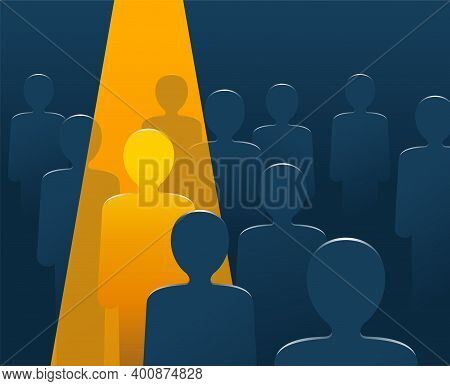 Recruitment Or Leadership Concept People Row With Spotlight Highlighted Selected One - Creative Visu