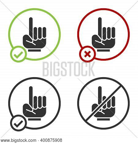 Black Number 1 One Fan Hand Glove With Finger Raised Icon Isolated On White Background. Symbol Of Te