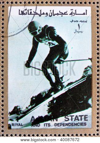 Postage Stamp Ajman 1973 Downhill Skiing, Winter