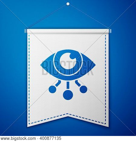 Blue Eye Scan Icon Isolated On Blue Background. Scanning Eye. Security Check Symbol. Cyber Eye Sign.