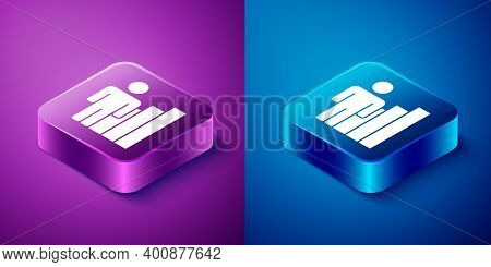 Isometric Productive Human Icon Isolated On Blue And Purple Background. Idea Work, Success, Producti