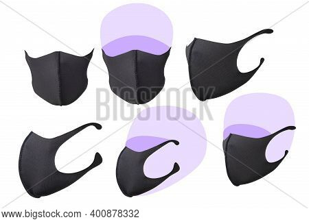 Set Of Black Face Masks Isolated On White: Three Quarter View, Full Face View, Side View. Ready For