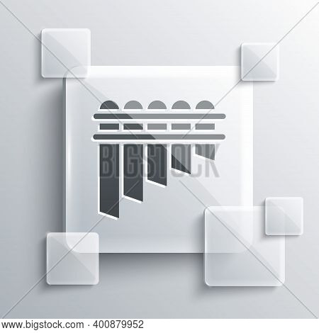 Grey Pan Flute Icon Isolated On Grey Background. Traditional Peruvian Musical Instrument. Zampona. F