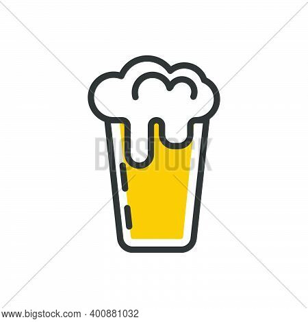 Mug Of Beer Glass Alcohol Icon Isolated On White. Logo Beer Mug With White Froth Golden Drink Vector