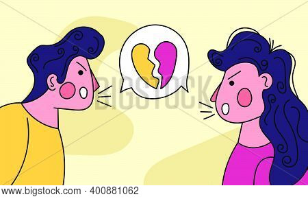 Couple Love Conflicts Illustration. Woman And Man With Love Problems. People And Conflict Divorce In
