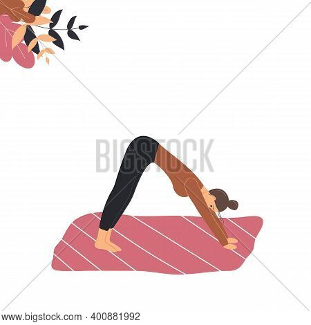 Cute Woman Does Yoga On Mat. Young Lady In Yoga Posture Downward Facing Dog, Mindfulness Practice, S
