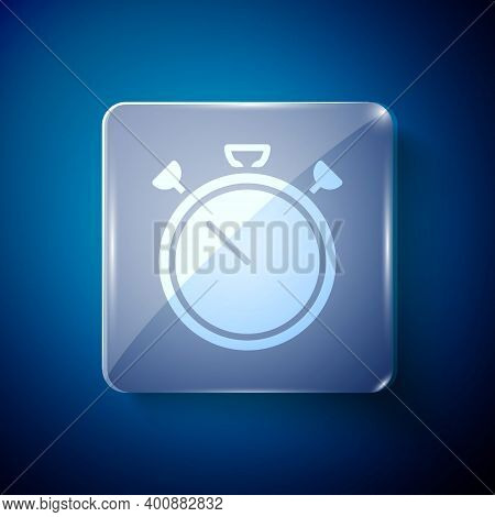 White Stopwatch Icon Isolated On Blue Background. Time Timer Sign. Chronometer Sign. Square Glass Pa