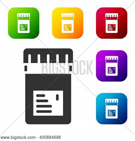 Black Biologically Active Additives Icon Isolated On White Background. Set Icons In Color Square But