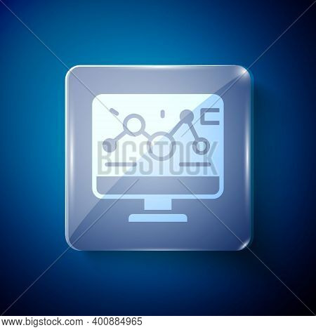 White Genetic Engineering Modification On Laptop Icon Isolated On Blue Background. Dna Analysis, Gen
